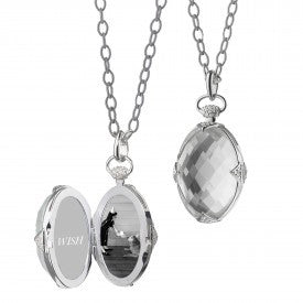 Sterling Silver Rock Crystal & White Sapphire Locket Necklace