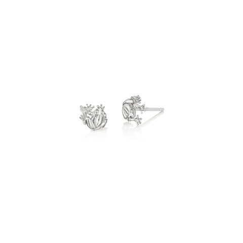 Sterling Silver Sitting Frog Stud Earrings