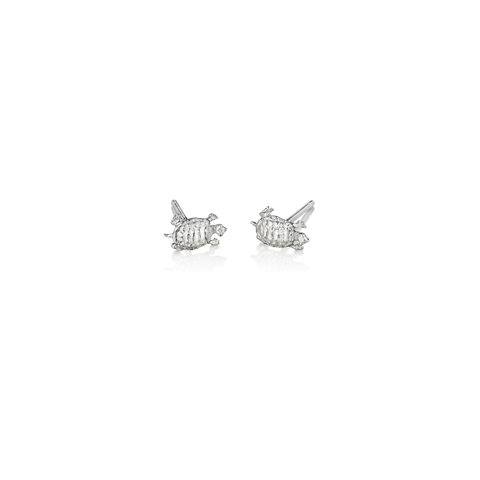 Sterling Silver Tiny Turtle Stud Earrings