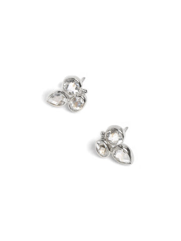 Sterling Silver White Topaz Bezel Bouquet Stud Earrings