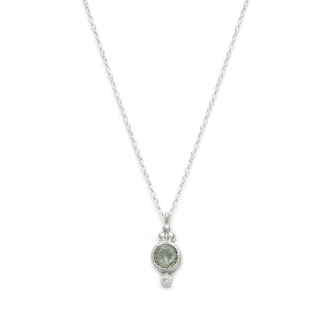 Todos - Sterling Silver Aquamarine & CZ Necklace