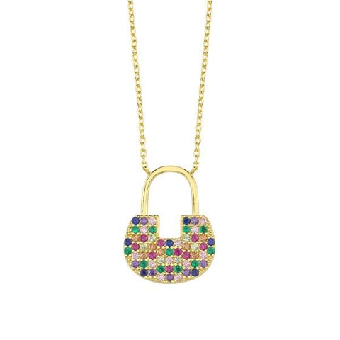 Vermeil Multi Color CZ Large Lock Necklace