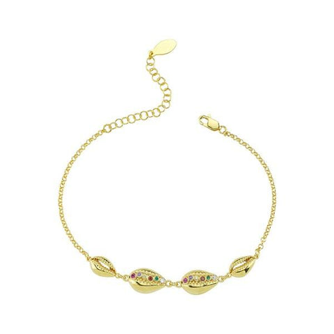 Vermeil Multi Color CZ Shell Bracelet