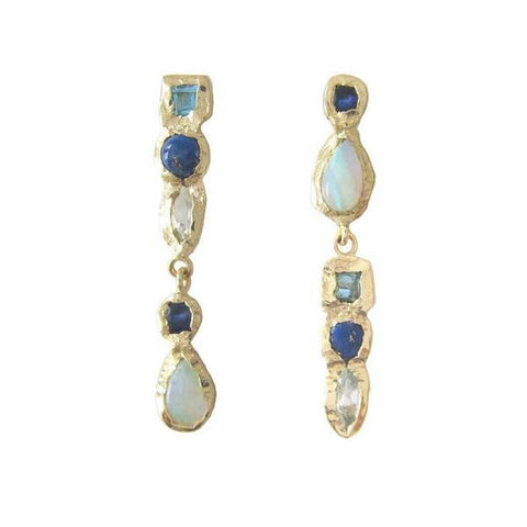 14K Gold Blue Topaz, Lapis, Aquamarine, Sapphire, Opal Waterfall Earrings