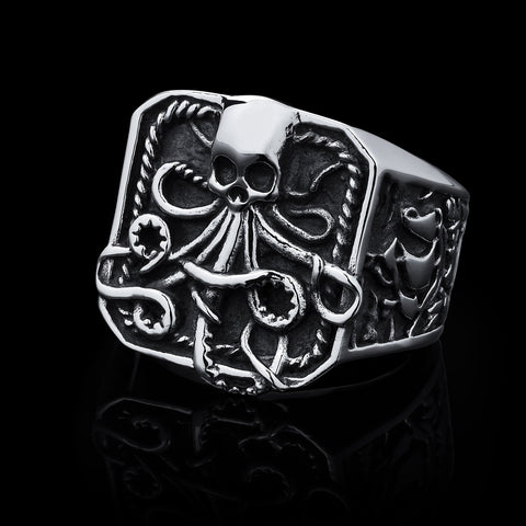 Watery Grave - Stainless Steel Ring size 9