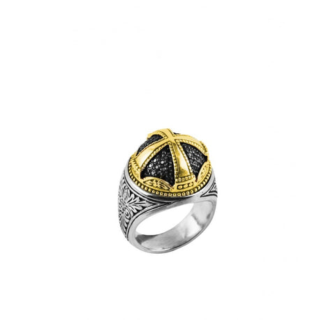 Sterling Silver & 18K Gold Black Diamond Ring