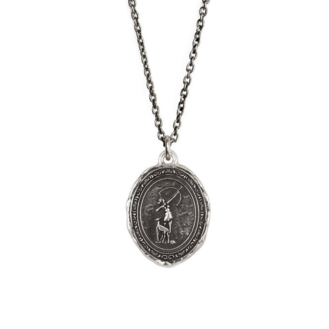 "Artemis Goddess Talisman, sterling silver, 18"" cable chain"
