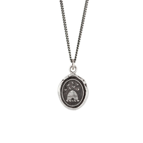 Beehive Talisman Necklace, sterling silver