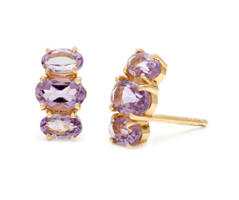 Bijou - Gold Plate Amethyst Stud Earrings