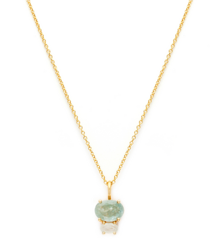 Bijou - Gold Plate & 14K Gold Fill Chain Aquamarine & Moonstone Necklace