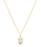 Bijou - Gold Plate & Gold Fill Chain Moonstone & White Topaz Necklace