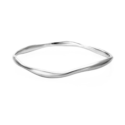 Sterling Silver Narrow Wave Bangle Small