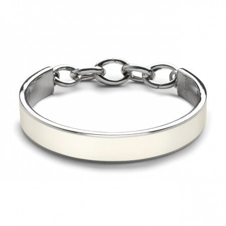 Sterling Silver White Resin Bangle with Chain Hinge