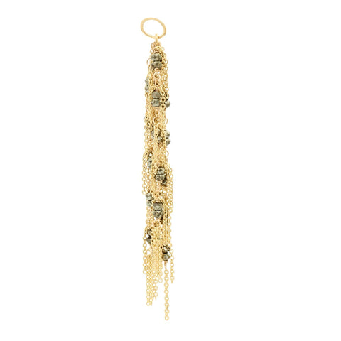 18K Gold Pyrite Beads Chain Tassel Charm