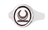 Sterling Silver Crescent Moon Oval Signet Ring