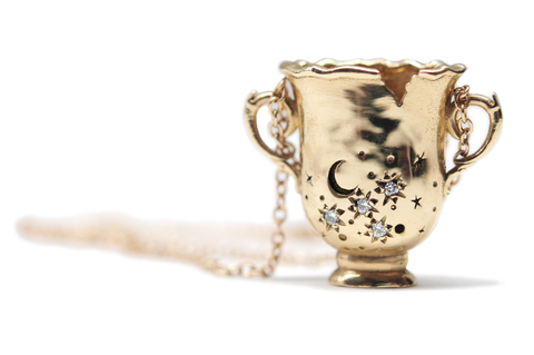 Cup of Stars - 14k Gold Diamond Necklace