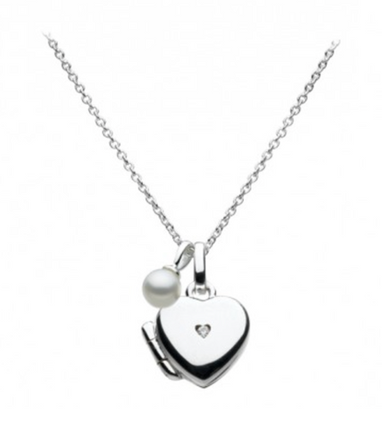Sterling Silver Pearl & Diamond Heart Locket Necklace