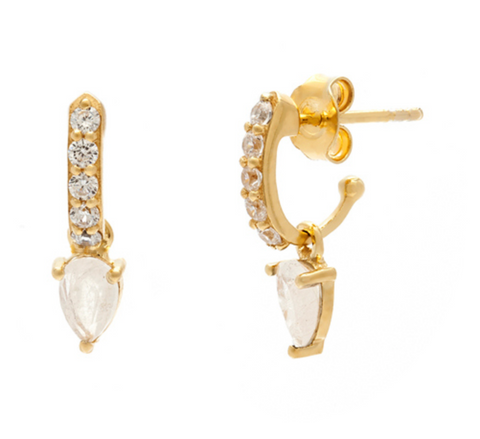 Demi Gem - Gold Plate Moonstone & CZ Hoop Earrings