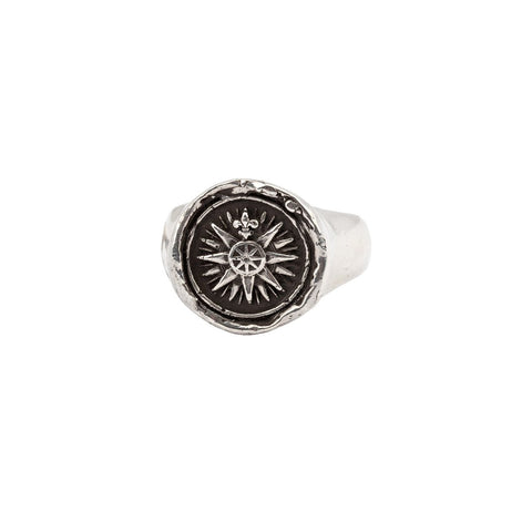 Direction Signet Ring, sterling silver, size 9