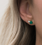 Duo - Gold Plate Green Onyx & CZ Duo Stud Earrings