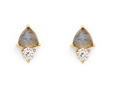 Duo - Gold Plate Labradorite & CZ Stud Earrings