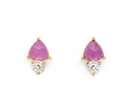 Duo - Gold Plate Pink Sapphire & CZ Stud Earrings