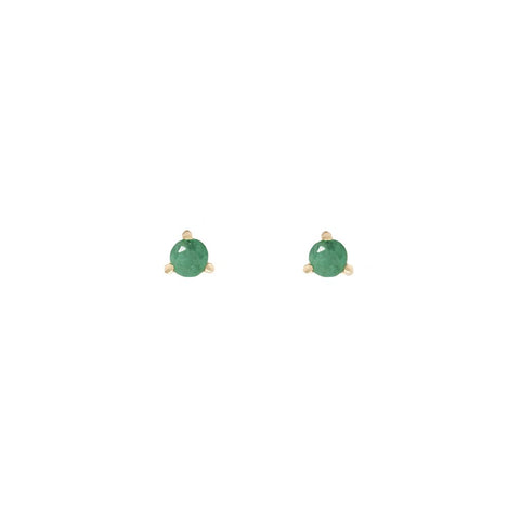 Element - Gold Plate Emerald Stud Earrings
