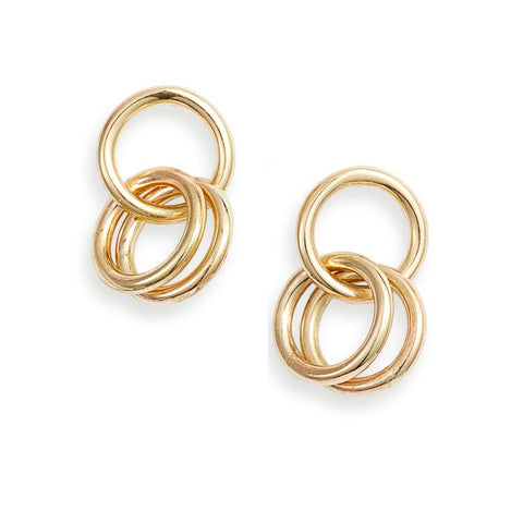 14K Yellow Gold Baby Link Earrings