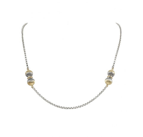 Sterling Silver & 18K Gold Two-Ball Necklace