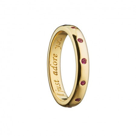 "18K Gold Burnished Rubies ""I Just Adore You"" Poesy Ring"