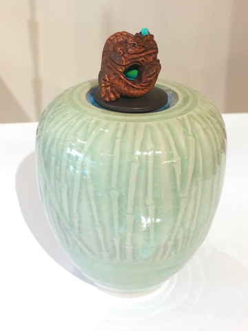 "Ceramic & Wood ""Dragon Circles Bead"" Celadon Storm Fetish Jar"