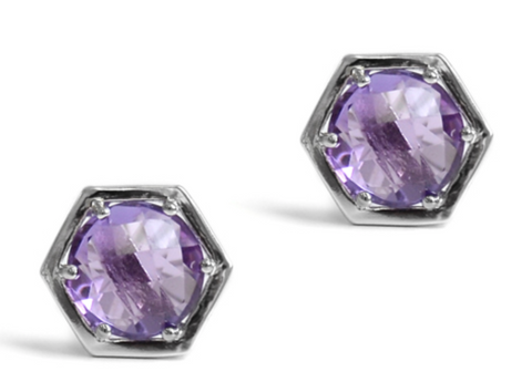 Sterling Silver Amethyst Bolt Stud Earrings