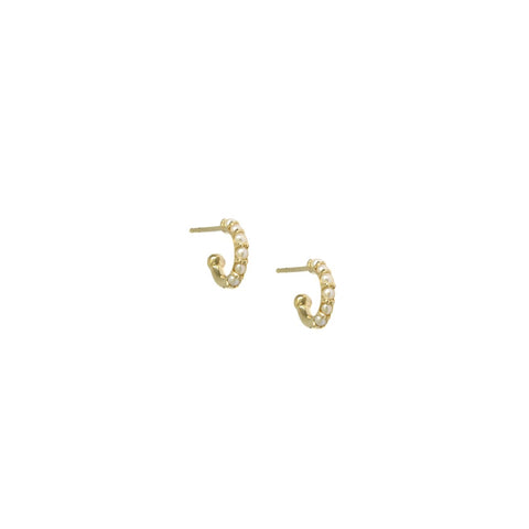 14K Gold Freshwater Pearl Huggie Earrings