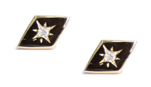 14K Gold Diamond Vintage Star Rhombus Stud Earrings