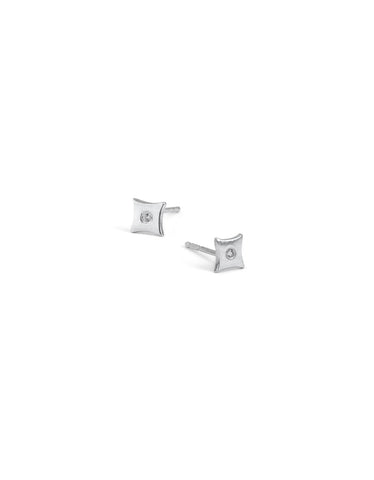 Sterling Silver White Sapphire Gothic Solitaire Stud Earrings
