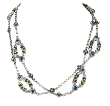Sterling Silver & 18K Gold Green Agate & London Blue Topaz Necklace