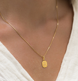 Love Token - Gold Plate & Gold Fill Chain CZ Square Necklace