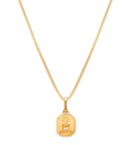 Love Token - Gold Plate & 14K Gold Fill Chain CZ Square Necklace