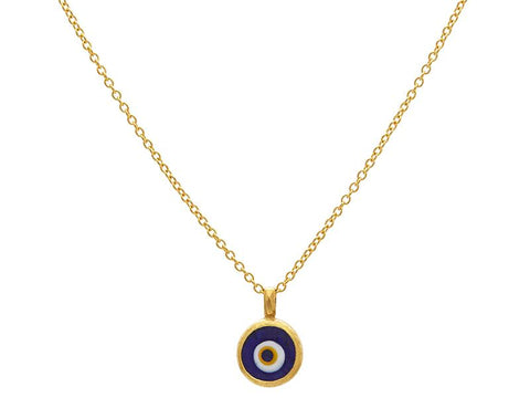 24K Gold Glass Evil Eye Necklace