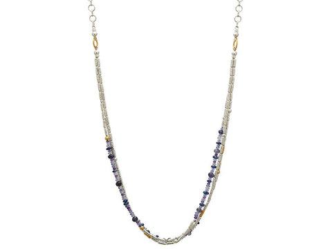Sterling Silver & 24K Gold Iolite, Amethyst, Kyanite Vertigo Flurries Triple Strand Necklace