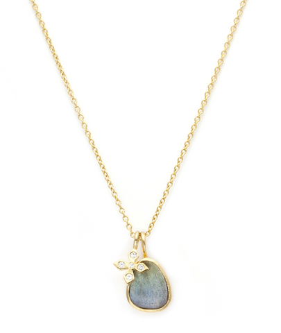 Paz - Gold Plate & Gold Fill Chain Labradorite & CZ Necklace