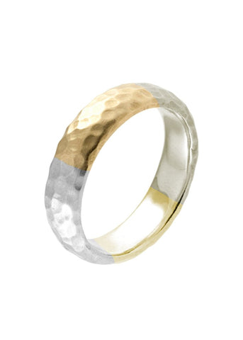 18K Yellow, White & Green Crushed Gold Men's Band