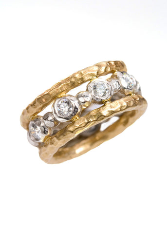 18K & 22K Crushed Gold Diamond Mina Ring