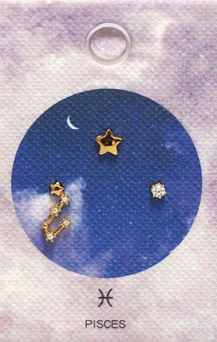 Gold Plate CZ Pisces Zodiac Earrings