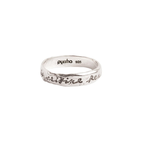 Sterling Silver The End Depends of the Beginning Poesy Ring