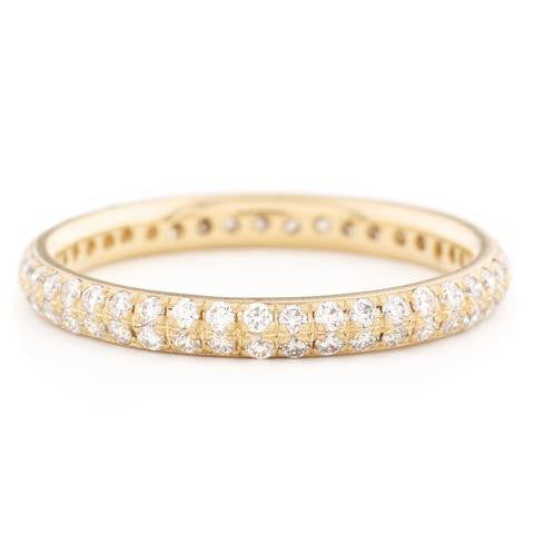 18K Yellow Gold Two Row Pave Band