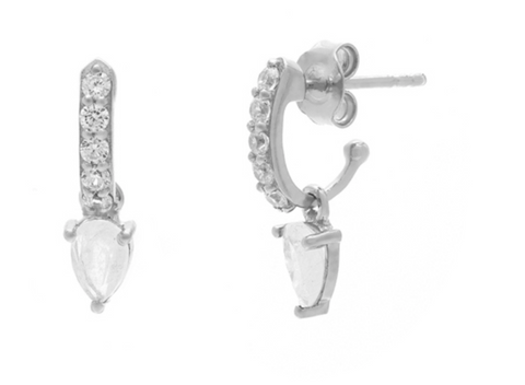 Demi Gem - Sterling Silver Moonstone & CZ Hoop Earrings
