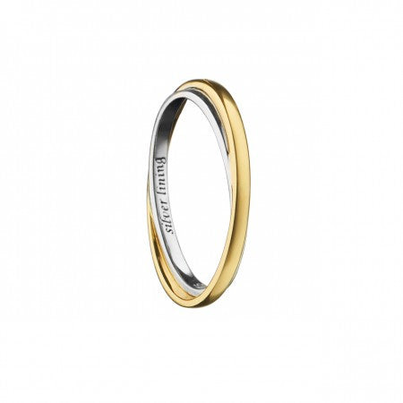 "18K Gold & Sterling Silver Gold ""Silver Lining"" Poesy Ring"