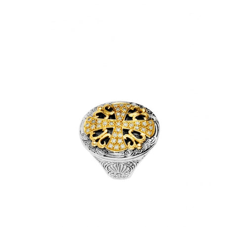 Sterling Silver & 18K Gold Diamond Oval Cross Ring