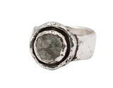 Sterling Silver Tourmalated Quartz Faceted Stone Ring